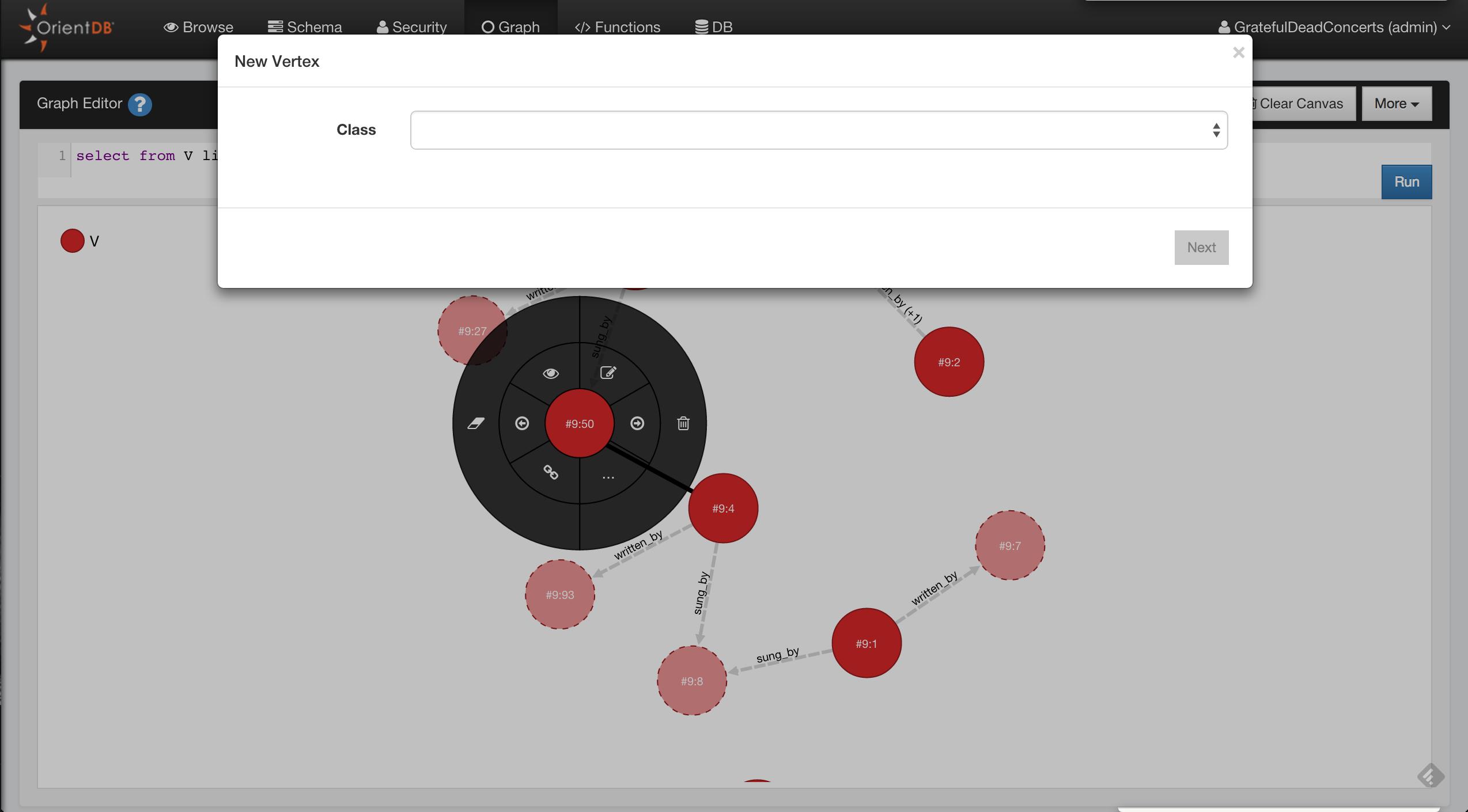 Graph Editor · OrientDB Manual